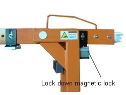 Barrier in the magnetic locked down position.