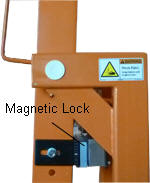 mag-lock holds barrier arm in the up position