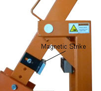Magnetic lock releases - barrier arm lowers.